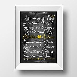 Individuelles Poster für Pärchen von Mr&Mrs Druck - Personalisiert - mit euren Namen - Berühmte Paare