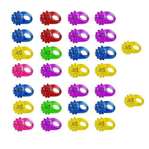 Blinkende Unebener Ring Party Gelee Leuchtend Finger Ring Spielsachen für Kinder Erwachsene 10 Stk. - 30 Packs