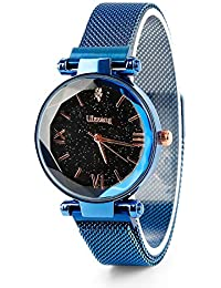 fb6dbb1c0fd4 SQUAREDO Moda de Cuarzo analógico Relojes para Damas Banda de Malla  magnética Reloj Starry Sky Dial