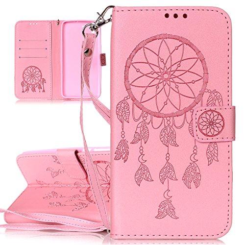 Funda para Huawei Y6 II, Case Cover para Huawei Y6 II, ISAKEN Multicolor Mariposa Flor Patrón Cartera Fundas de PU Cuero Flip Standing Leather Wallet Case Cover Carcasa Funda con Portátil Correa Ranura de Tarjeta Cierre Magnético y función de soporte para Huawei Y6 II / Honor 5A 5.5 Pulgadas (Dream Catcher Pink)