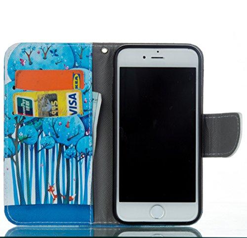 iPhone 7Custodia a portafoglio [con protezione schermo libero], mo-beauty ® Custodia Portafoglio in pelle PU per Apple Iphone 7, Full Body Colorful Pattern Design Flip Cover Portafoglio in pelle PU C Forest