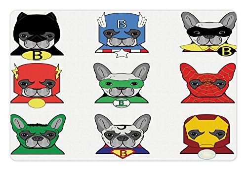Ambesonne Superheld Pet Matte für Futter und Wasser, Bulldog Superhelden Fun Cartoon Welpen in Disguise Kostüm Hunde mit Masken Print, Rechteck Rutschfeste Gummimatte für Hunde und Katzen, Multicolor (In Superhelden-masken Der Masse)