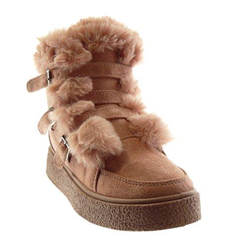 Angkorly Damen Schuhe Stiefeletten - Plateauschuhe - Combat Boots - Schneestiefel - Pelz - String Tanga - Multi-Zaum Flache Ferse 3.5 cm Rosa