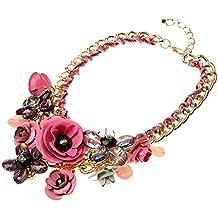 Joyería de Declaración Cadena Collar Colgante de Grande Flor Cristal para Banquete