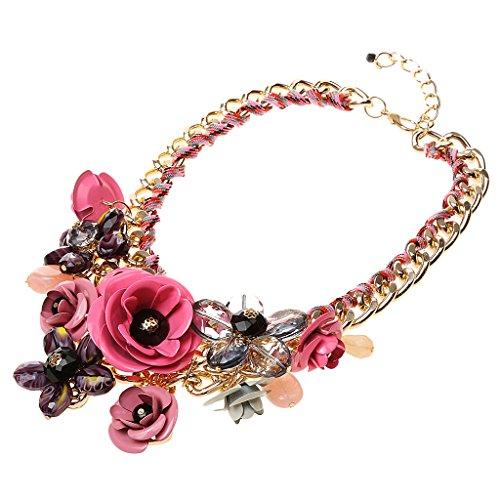 Joyería de Declaración Cadena Collar Colgante de Grande Flor Cristal para Banquete - Rojo