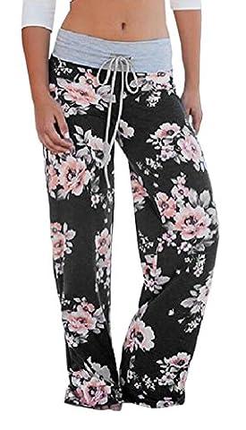 Boho Beachwear Blumendruck Weite Bein Hosen Damen Slim Straight Leg Hose Freizeithose mit Gummizug Strandhosen