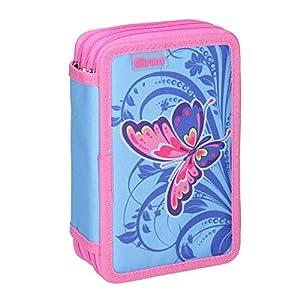 Spirit Estuche Escolar con diseño de Mariposas Rosas y 3 Cremalleras.