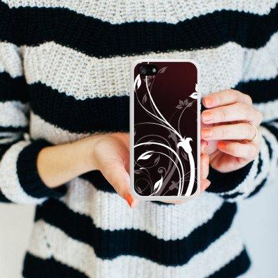 Apple iPhone 4 Housse Étui Silicone Coque Protection Fleurs Fleurs Vrilles Housse en silicone blanc