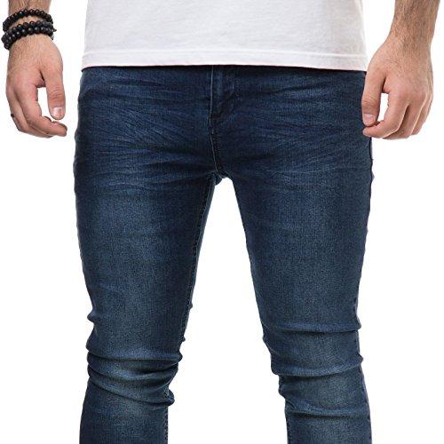 ZEARO Herren Skinny Jeans Hose Herren Slim Fit Blau Denim Verwaschen Stonewashed Dunkelblau