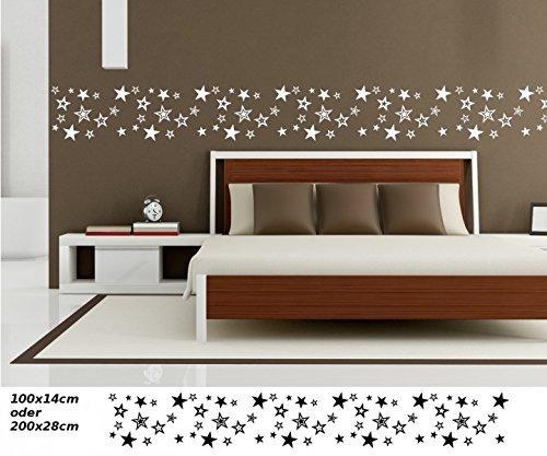 Wandtattoo selbstklebend Bordüre Stern 65 Sternen Set Kinderzimmer Banner Himmel Mond Aufkleber Wohnzimmer 1U112, Farbe:Dunkelgrau glanz;Länge...