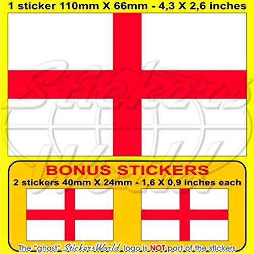 England englisch Flagge St George 's Cross Großbritannien UK 109,2cm 110) Vinyl Bumper Aufkleber, Aufkleber X1+ 2Bonus (St George Flagge Aufkleber)