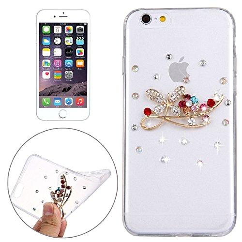 Wkae Case Cover Für iPhone 6 Plus &6s Plus-Diamant verkrustete Glas-Katze-Perlen-Bell-Muster-weiche TPU-Schutzhülle Cover-Rückseite ( SKU : IP6P4000T ) IP6P4000T