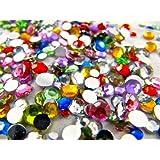 Lot de 1000 strass de différentes couleurs et tailles, plats à l'arrière, en acrylique