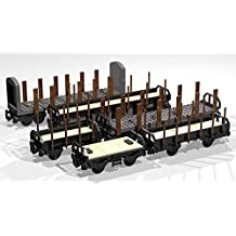 Collection of six 4- and 8-Wheel Stake Wagons: Lego MOC building instructions (Lego Train MOC Plans Book 2) (English Edition)