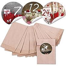 '24sacchettini Natale Mini carta sacchettini (6,3x 9,3cm) e 24adesivi rotondi 4cm