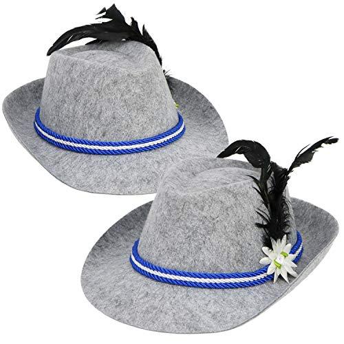 com-four® 2x Trachtenhut mit Feder für Oktoberfest, Karneval oder Fasching, Bayernhut aus Filz mit blau/weißer Kordel (02 Stück - ()