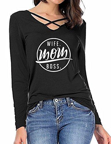Peceony Je Suis Une Maman Qui Déchire Tops à Manches Longues Sweat-Shirt Imprimé Sweats à Capuche Pour Femme Noir