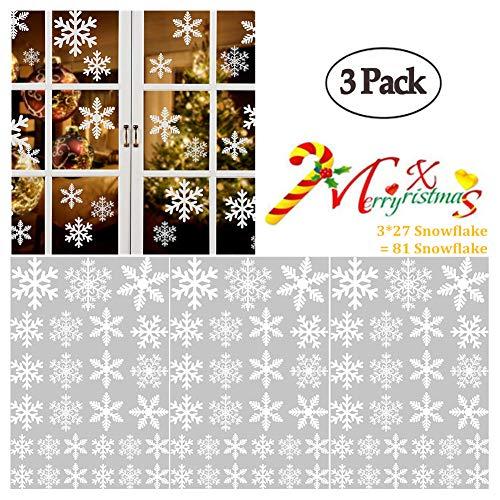 Wenmei Schneeflocke Fenster Aufkleber Weihnachten Schneeflocken Wand Aufkleber Schneeflocke Statische Paste Großen Schneeflocken Weihnachten Dekoration für Glas, Tür Ornaments 3Sets 81Stück (Glas Ornamente Schneeflocke)