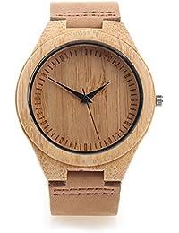 f659e7c74dca Yowao Madera de bambú Reloj Hombre con Correa de Cuero Genuino Movimiento  de Cuarzo Japonés -