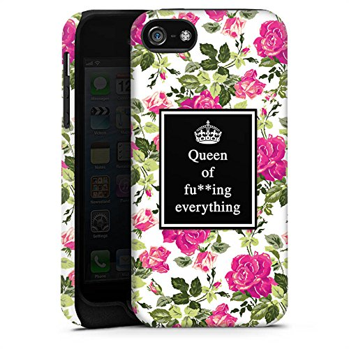 Apple iPhone X Silikon Hülle Case Schutzhülle Queen Sprüche Blumen Muster Tough Case matt