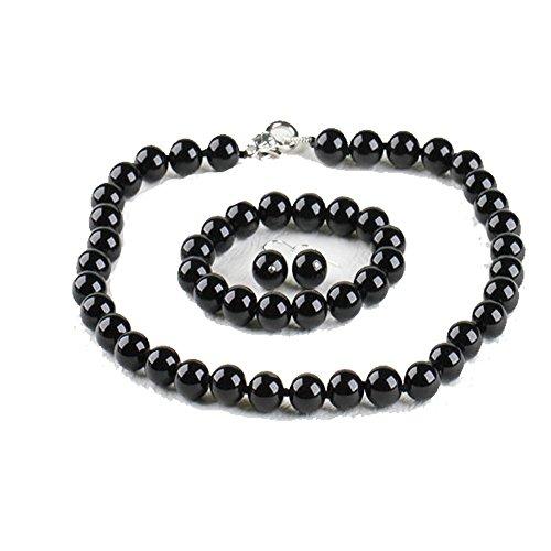 Treasurebay 12mm con agata nera collana, braccialetto e orecchini gioielli set–presentato in una bella confezione regalo