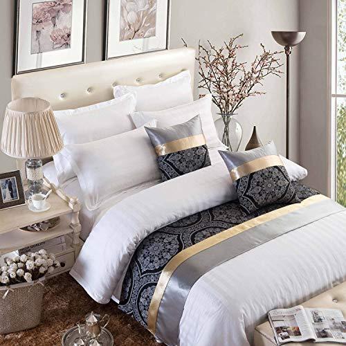 Osvino corridore letto jacquard tessuto precision blend classico nobile bed runner matrimoniale per camere casa alberghi, nero e oro 210x50cm per 150cm letto