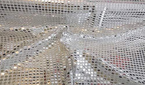 Fabrics-City HOCHWERTIG Pailetten Stoff PAILLETTENSTOFF 6MM Stoffe (Silber/WEIß 50x110cm)