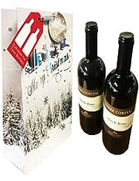 2 bolsas de regalo para botellas de vino, diseño navideño