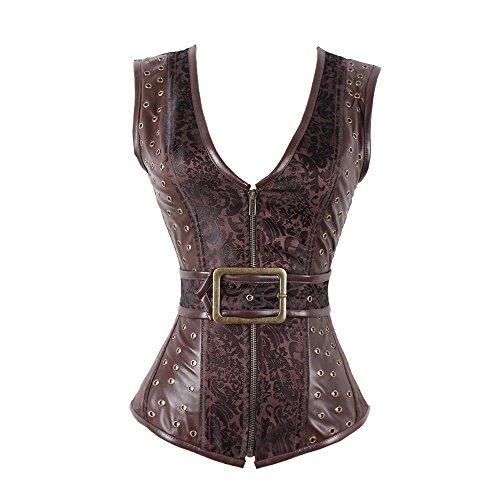 FeelinGirl Damen Steampunk Korsagentop Gothic Rockabilly Punk Kostüm Stahl ohne Knochen Korsett Anzug Plus Size