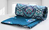 #6: AURAVE Double Size Blue Traditional 1 Pc Cotton Reversible Quilt Cover/Duvet Cover/Blanket Cover (with zipper closure)