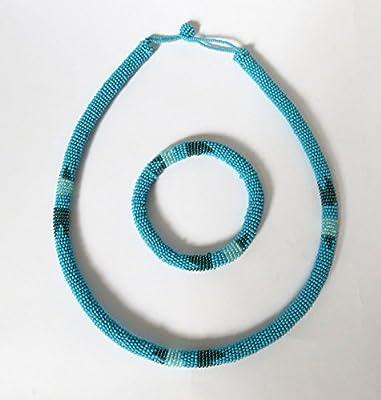 Parure collier et bracelet en perles Sud Africain Zoulou - Sky Collection