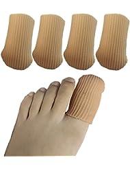 Gel Toe Caps,4 Pcs/Pack for Big Toes, Toe Covers,Toe Protectors,Toe Sleeves,for Corns Remover, Callus Cushion, Bunion Treatmen (Brown,4 Pcs Big Toe Covers)