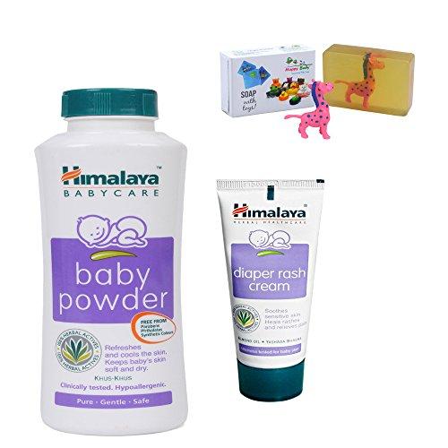 Himalaya Herbals Baby Powder (200g)+Himalaya Diaper Rash Cream (50g) With Happy Baby Luxurious Kids Soap With Toy (100gm)