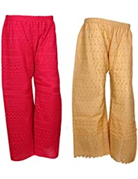 IndiStar Women Combo Pack (Pack Of 1 Georgette Pallazo With Astar And 1 Cotton Chikan Work Pallazo) - B078M4JDXZ