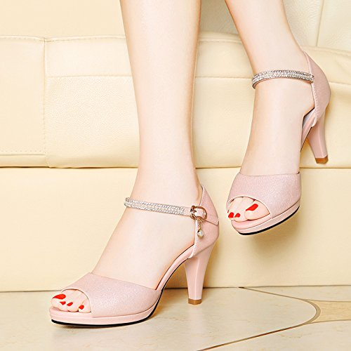 Estate moda donna sandali comodi tacchi alti,40 giallo Pink
