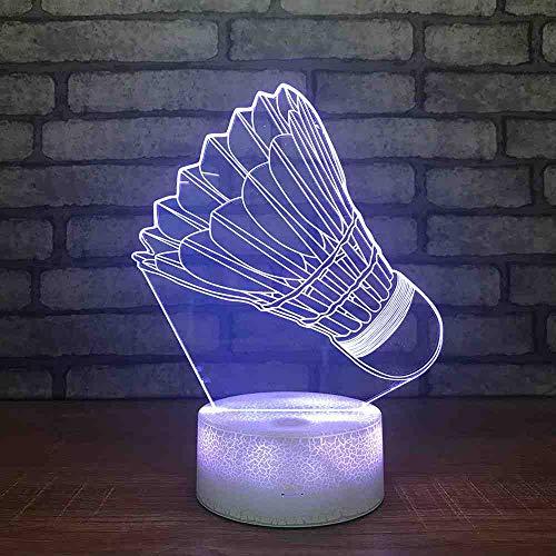 BJDKF Badminton 3D Nachtlicht Kreative Usb Stromversorgung Schreibtischlampe Nacht Home Geschenk Usb Led Nachtlicht 3D Leuchten