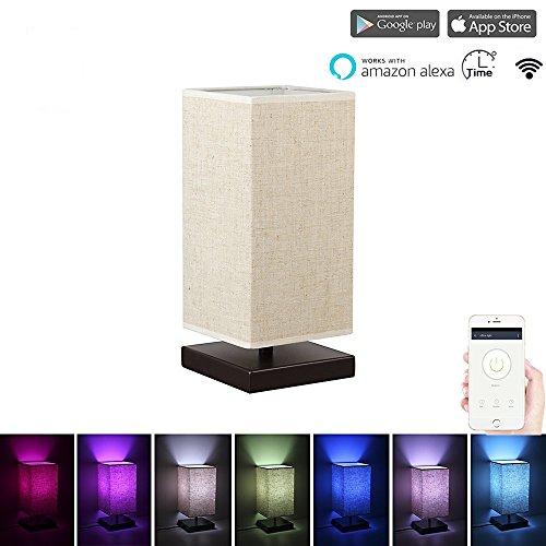 smarte holzlampe mit sprachsteuerung steuerbar mit handy app dimmbares mehrfarbiges led licht. Black Bedroom Furniture Sets. Home Design Ideas