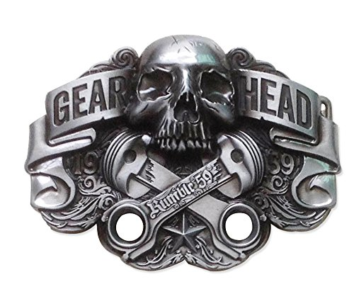 Choppershop Gear Head mecánico Moto Bicicleta Pistón Calavera Hebilla de cinturón de Metal