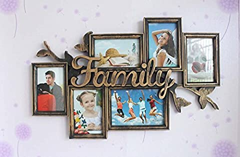 FAMILY Multi Apperture Photo / Cadre photo Dispose de 6 photos - Cadeau idéal , bronze 61*39cm