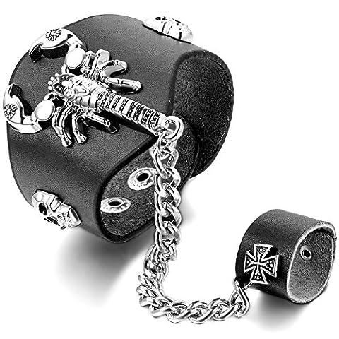 JewelryWe Ensemble Bracelet & Bague Punk Rock avec Crane Tête