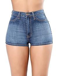 c6fcb03b7712ff iBaste Jeanshose Shorts Damen High Waist Hotpants Denim Shorts Kurz Hose  Damen Jeans