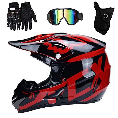 PKFG® AO-329 Full face Motocross Helm, Adult Helm Sport Adventure Enduro Motorradhelme Motocross Schutzhelm Unisex MTB Schutz Sicherheit Helm mit Handschuhe Maske Brille,L56~57CM Adventure Handschuhe