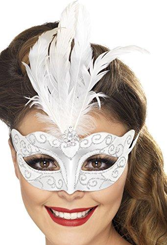 anische Glitzer Augenmaske mit Feder, One Size, Silber, 24571 (Einfache Womens Halloween-kostüm Ideen)