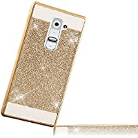 para LG G2 Carcasa, para LG G2 Funda Glitter Sunroyal Funda de Bling Crystal Plástico PC Phone Movil Case Con Brillante Diamond Superior e Inferior Rigida Dura Cover Ultrafino Diseño Bling Case Protectora Tapa Trasera para LG G2 , Plateado