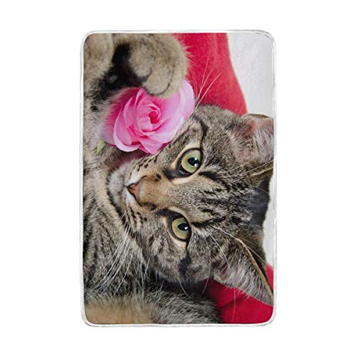 ALAZA Cute Pet gestromt Katze mit rosa Rose Übergroße Überwurf Decken für Polyester-Couch Sofa-König Queen Size Betten Home Decor Zimmer Betten Steppdecke für Sofa, Polyester, Multi, 60x90