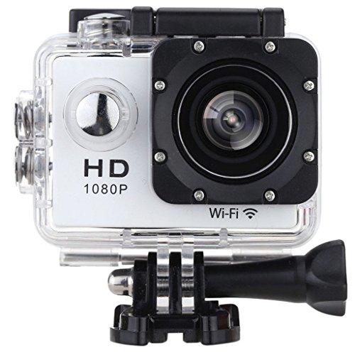 SODAO Action Kamera WIFI 2,0 Zoll Bildschirm, 12MP Full HD 1080P 30m/98 Fuß Wasserdichte Sports Kamera 170°Weitwinkel mit Zubehör Kits für Fahrrad Motorrad Tauchen Schwimmen usw (Silber)