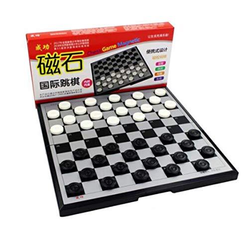 KEHUITONG Chinesische Dame, Dame, Halma, Magnet Internationale Dame Mit Magnetischem Faltbrett Set Anfänger Puzzle Training Magnet Dame Leicht zu erlernen (Color : Black Gray) (Schach-kühlschrank-magnete)