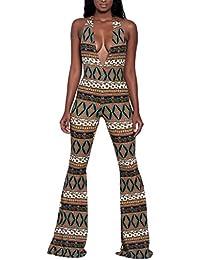 a8e5d4099b3 YiyiLai Women Halter V-Neck Jumpsuit Printed Wide Leg Rompers