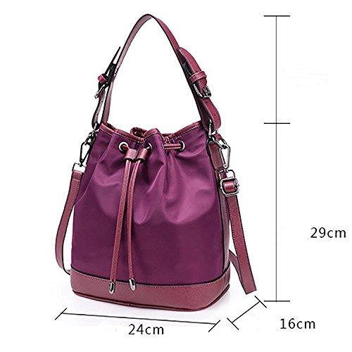 LINGE-A tracolla borsa a tracolla signora tempo libero tessuto Oxford , black Purple