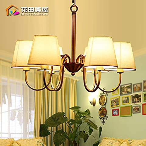 Ancernow caldo retrò creativo E27 Edison lampade a sospensione Tutto il rame Lampadari per soggiorno, camera da letto, camera bambini, bar, café, ristorante,Rr2387#,Testa 6